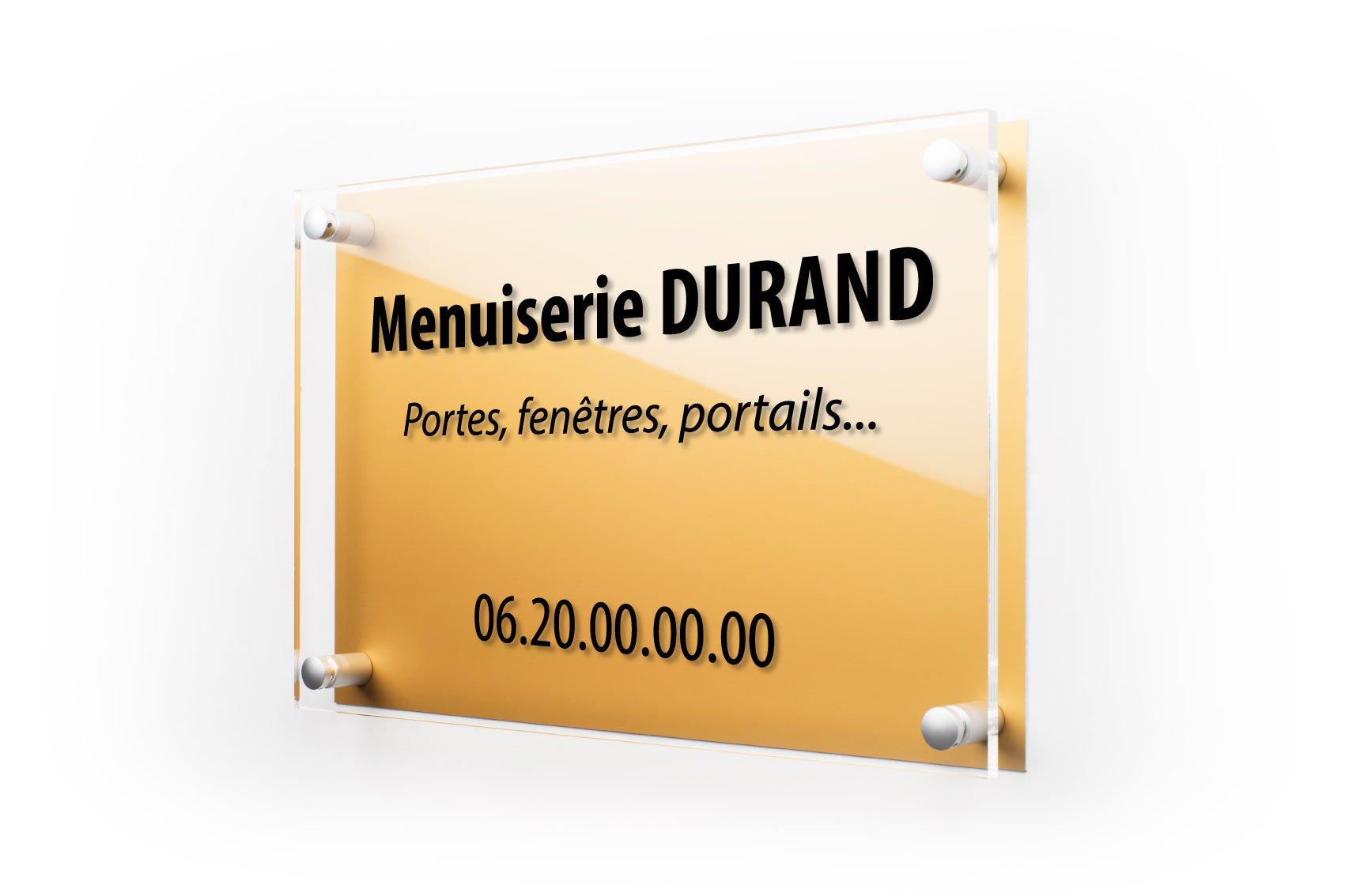 Plaque professionnelle plexiglass dorée